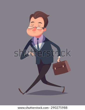 Business man is hurrying. Isolated vector illustration. - stock vector