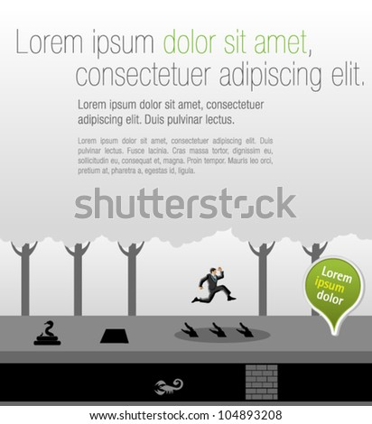 Business man jumping over dangerous obstacles on jungle. Overcoming challenges. - stock vector