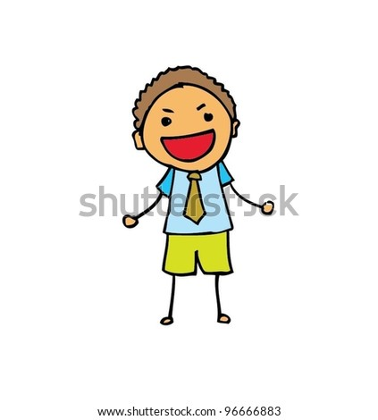 business man kids smiling with color - vector illustration - stock vector