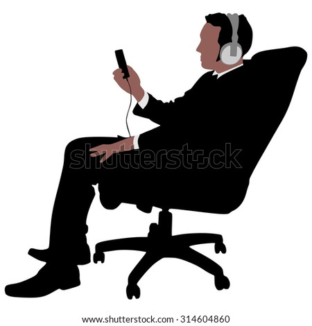 business man listening music relaxing, vector  - stock vector