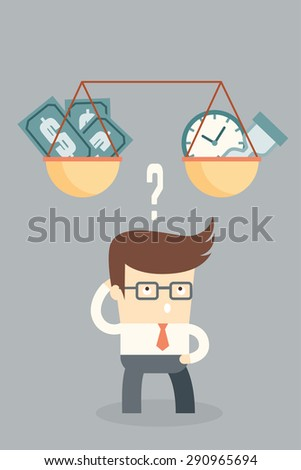 business man making decision between time or money, time is money concept - stock vector