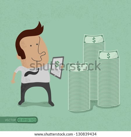 Business man making money with tablet concept , eps10 vector format - stock vector