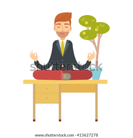 Business man meditating in lotus pose sitting on the office table under the money tree. cartoon character. Office man yoga vector illustration flat design. - stock vector