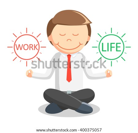Business man meditating work life
