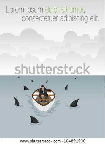 Business man on a boat surrounded by sharks - stock vector