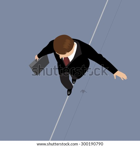 Business Man on a Wire. Risk Management Concept - stock vector