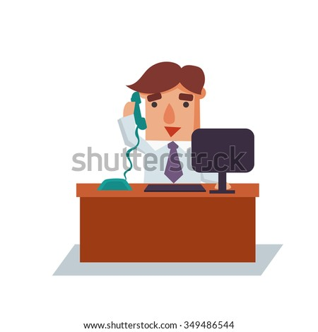 Business man on phone cartoon character flat vector illustration