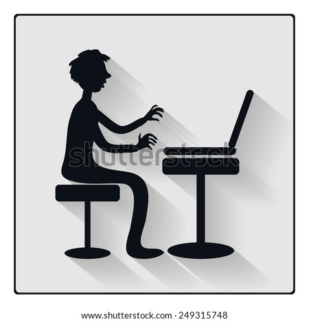 Business man or student working at laptop, black silhouette icon with long shadow. Vector cartoon character, caricature style - stock vector