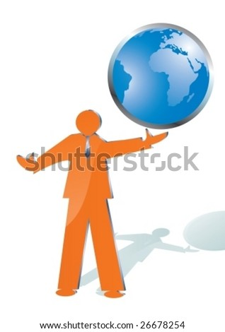 business man playing with world globe, vector illustration