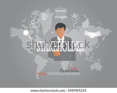 business man point to  stakeholder  word.stakeholder concept. Vector illustration. - stock vector
