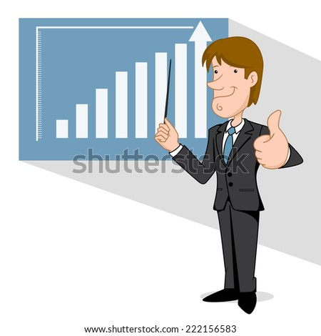 Business man points to chart, vector illustration