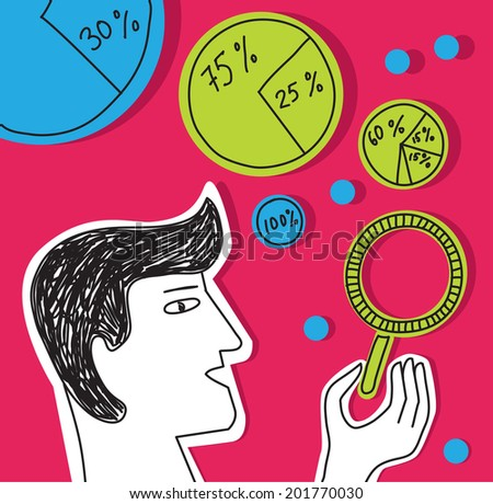 Business man presentation bubble diagramms infographics Businessman making bubble diagramms. Color doodles vector illustration. - stock vector