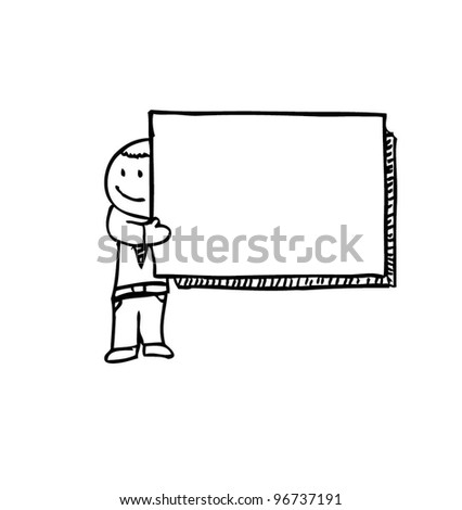business man presentation holding blank paper - vector illustration - stock vector