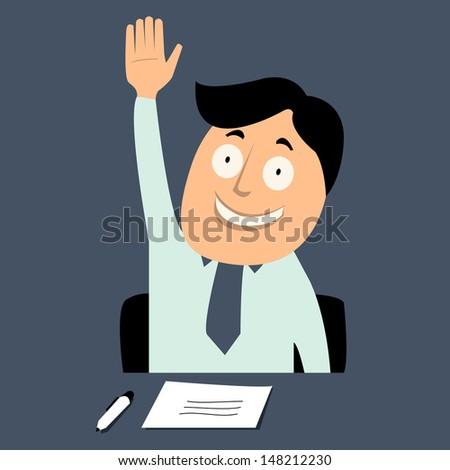 Business man raising hand. Vector illustration. - stock vector