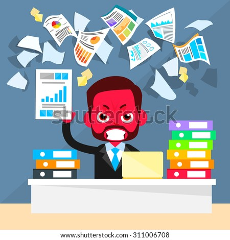 Business Man Red Face Problem, Throw Papers, Documents Fly Concept Negative Emotion, Businessman Desk Office Flat Vector Illustration - stock vector