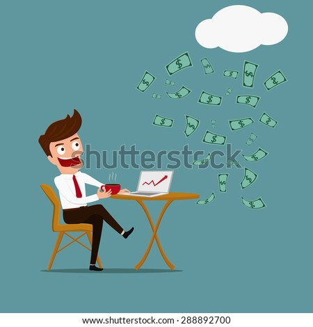 Business man. Relax and passive income concept. Cartoon Vector Illustration. - stock vector