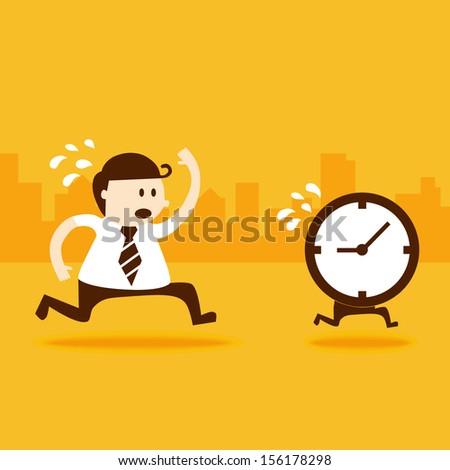 Business man run follow the clock - stock vector