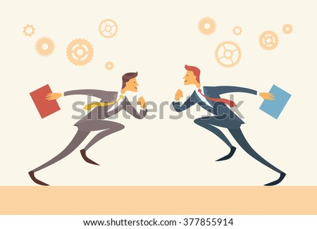 Business Man Run Opponents Face to Face Confrontation Contest Competitive Concept Flat Vector Illustration - stock vector