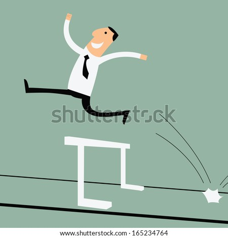 Business man running and can jumping over the hurdle, business concept in successful and overcome the problem or obstacle.  - stock vector