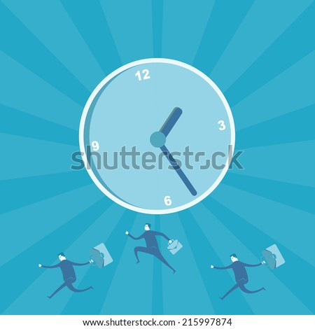 Business man running for time management  - stock vector