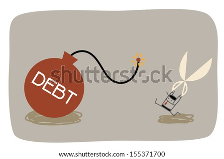 Business man running manage to cut debt  - stock vector