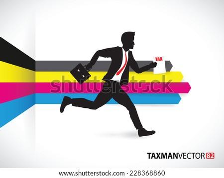 business man running with tax forms on a cmyk background - stock vector