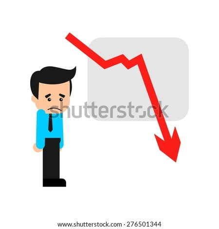 Business man sad with his decreasing sales cartoon