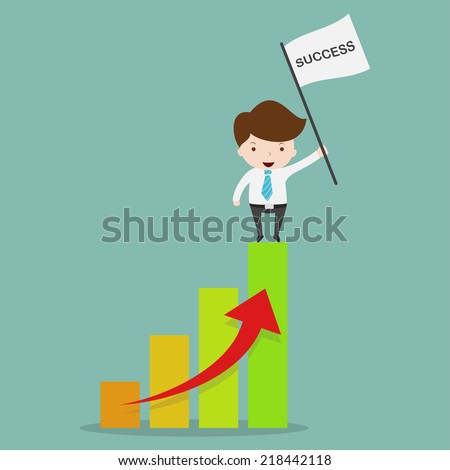Business man sandnig on profit graph. - stock vector