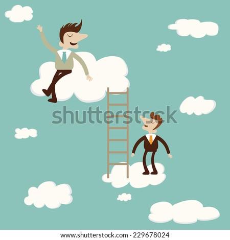 Business man sat on cloud with ladder. Vector cartoon illustration - stock vector