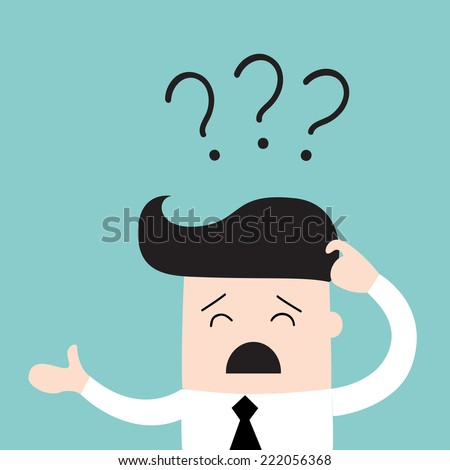 Business man scratches his head in indecision on a question mark. Business concept. Vector illustration - stock vector