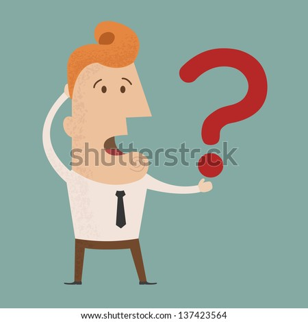 Business man scratches his head in indecision on a question mark , eps10 vector format - stock vector