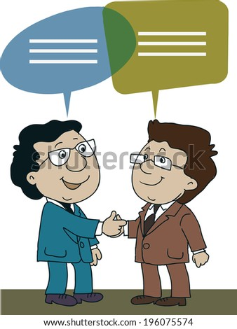 business man shake hands and talking - stock vector