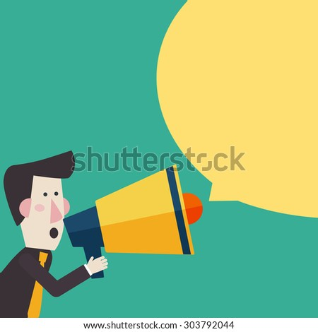 Business man shouting in a megaphone. Man announcing through loudspeaker advertising. Announcing promotion and banners concept. Vector illustration in a flat design style - stock vector