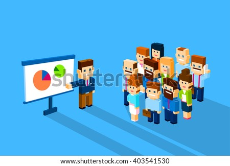 Business Man Show Graph Business People Group Conference Meeting 3d Isometric Flat Design Vector Illustration - stock vector