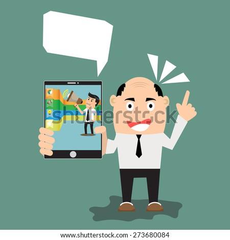 Business man show smart phone - stock vector
