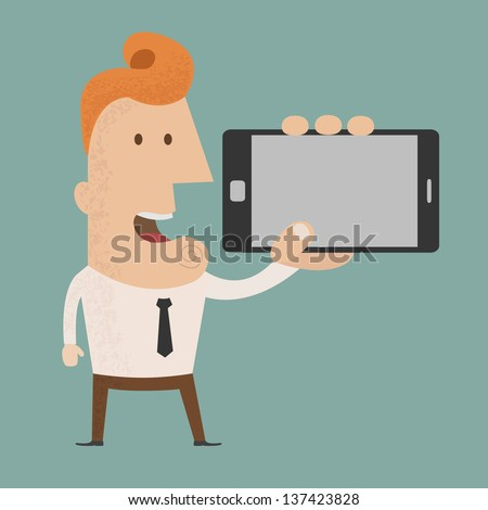 Business man show smart phone  , eps10 vector format - stock vector