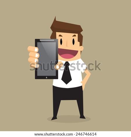 Business man show smart phone.vector - stock vector