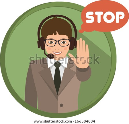 Business man showing a gesture of support, is in a circle - stock vector