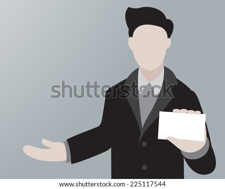 Business Man Showing Business Card  - stock vector