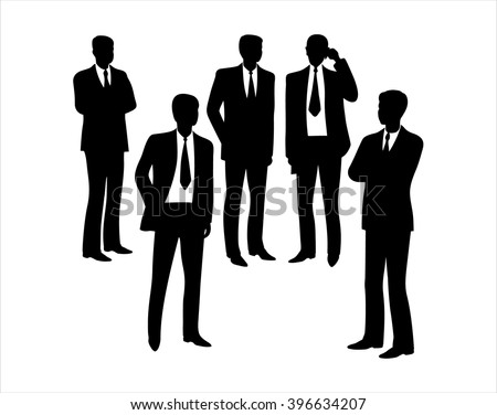 Business man silhouette. Black silhouettes of a group of business separately