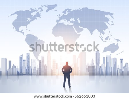 Business man silhouette over city landscape stock vector hd royalty business man silhouette over city landscape world map modern office buildings vector illustration gumiabroncs Image collections