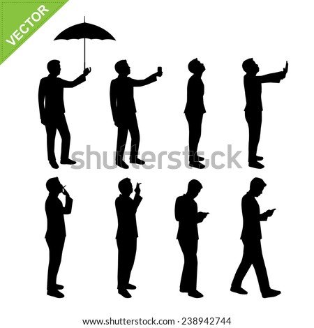 Business man silhouettes vector - stock vector