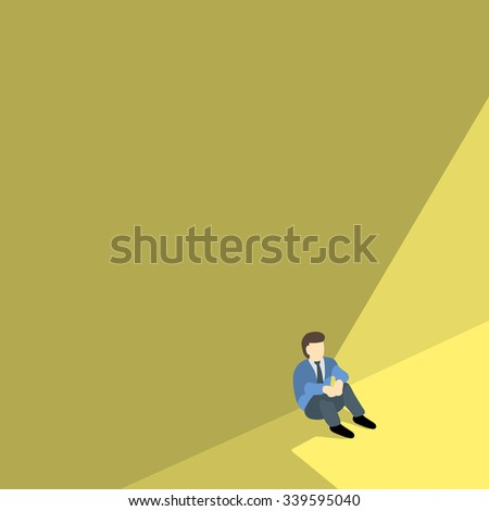 business man sitting alone against shadow wall with copyspace. - stock vector
