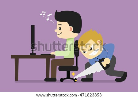 Business man sitting and enjoy to work but his friend is sawing the legs of chair to blackmail. Recreant of salaryman concept. flat character design vector illustration.