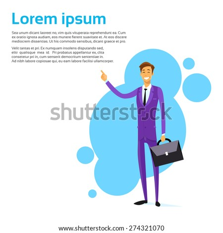 Business Man Smile Point Finger Empty Copy Space, Businessman Concept Advertisement Isolated over White Background, Vector Illustration - stock vector