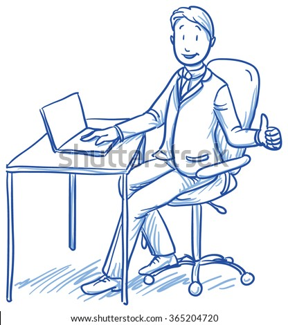 Business man smiling happy sitting at his office desk with thumb up. Hand drawn vector cartoon doodle illustration - stock vector