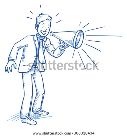 Business man smiling happy while shouting in megaphone, hand drawn doodle vector illustration - stock vector
