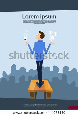 Business Man Speaker Hold Light Bulb New Idea Success Concept Flat Vector Illustration - stock vector