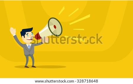 Business man speaking through megaphone. Vector flat illustration - stock vector