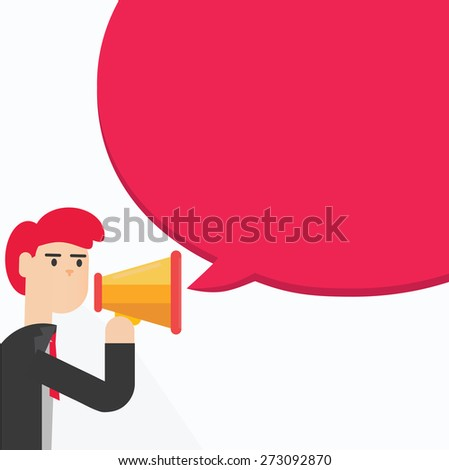 Business man speaking through megaphone with speech bubble. - stock vector